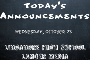 Announcements for Wednesday October 23, 2013