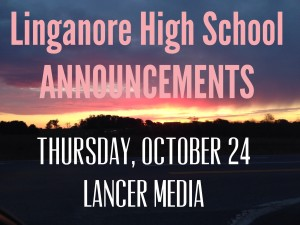 Announcements for Thursday October 24, 2013