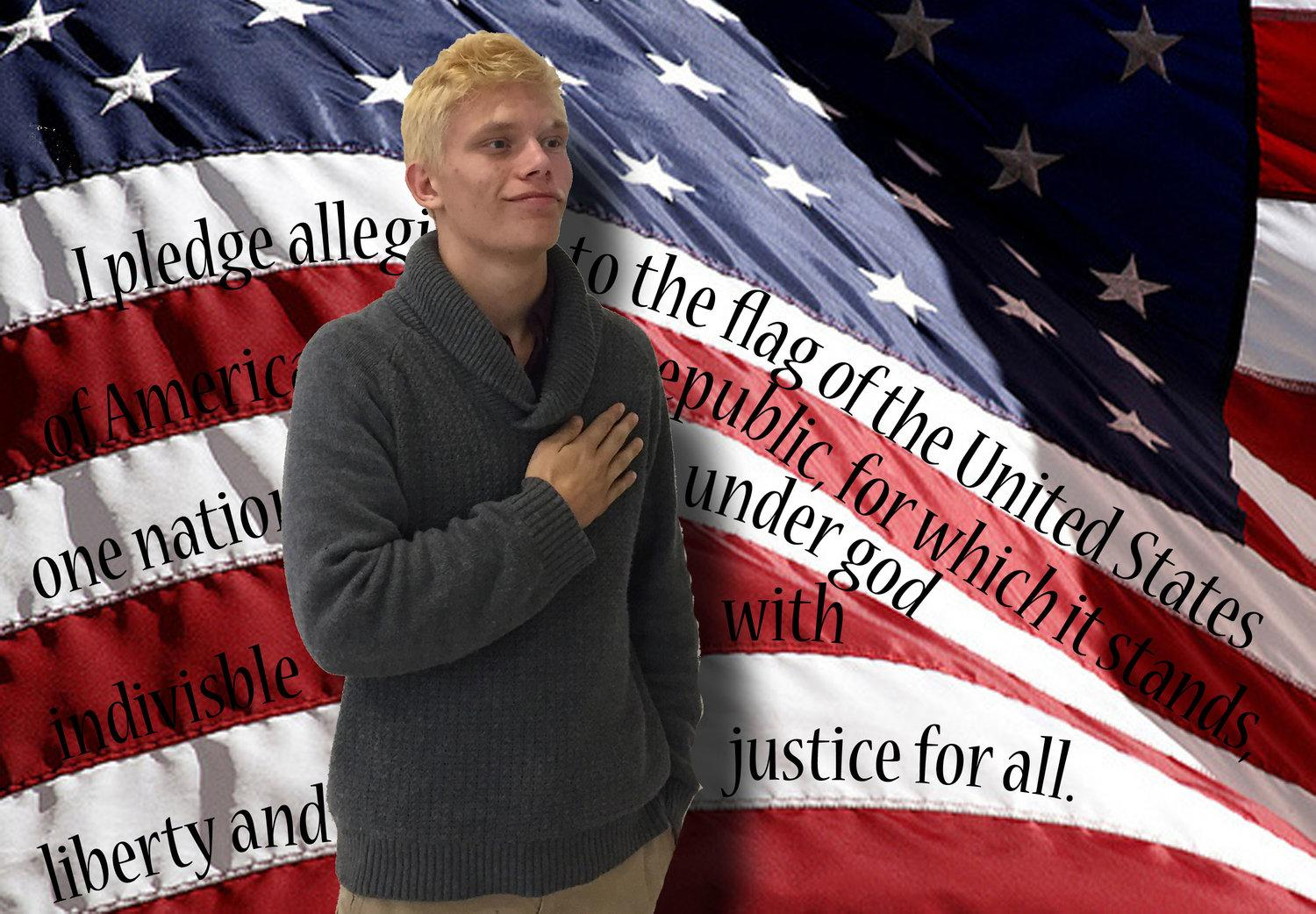 Brandon Cooper stands for the pledge.
