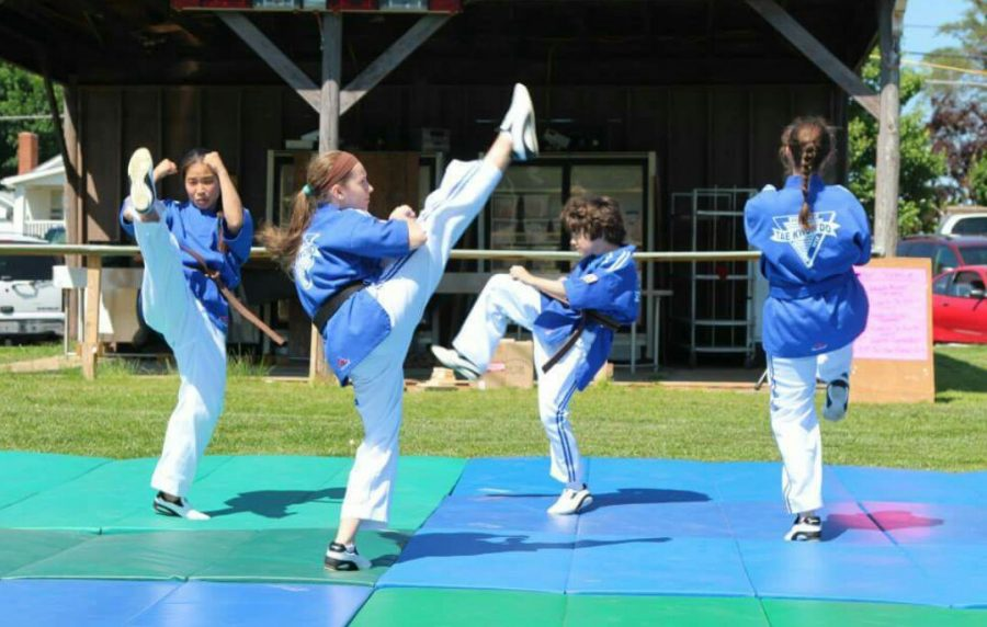 Hanna+Dufresne+%28second+one+from+the+left%29+performs+with+her+Tae+Kwon+Do+demo+team.
