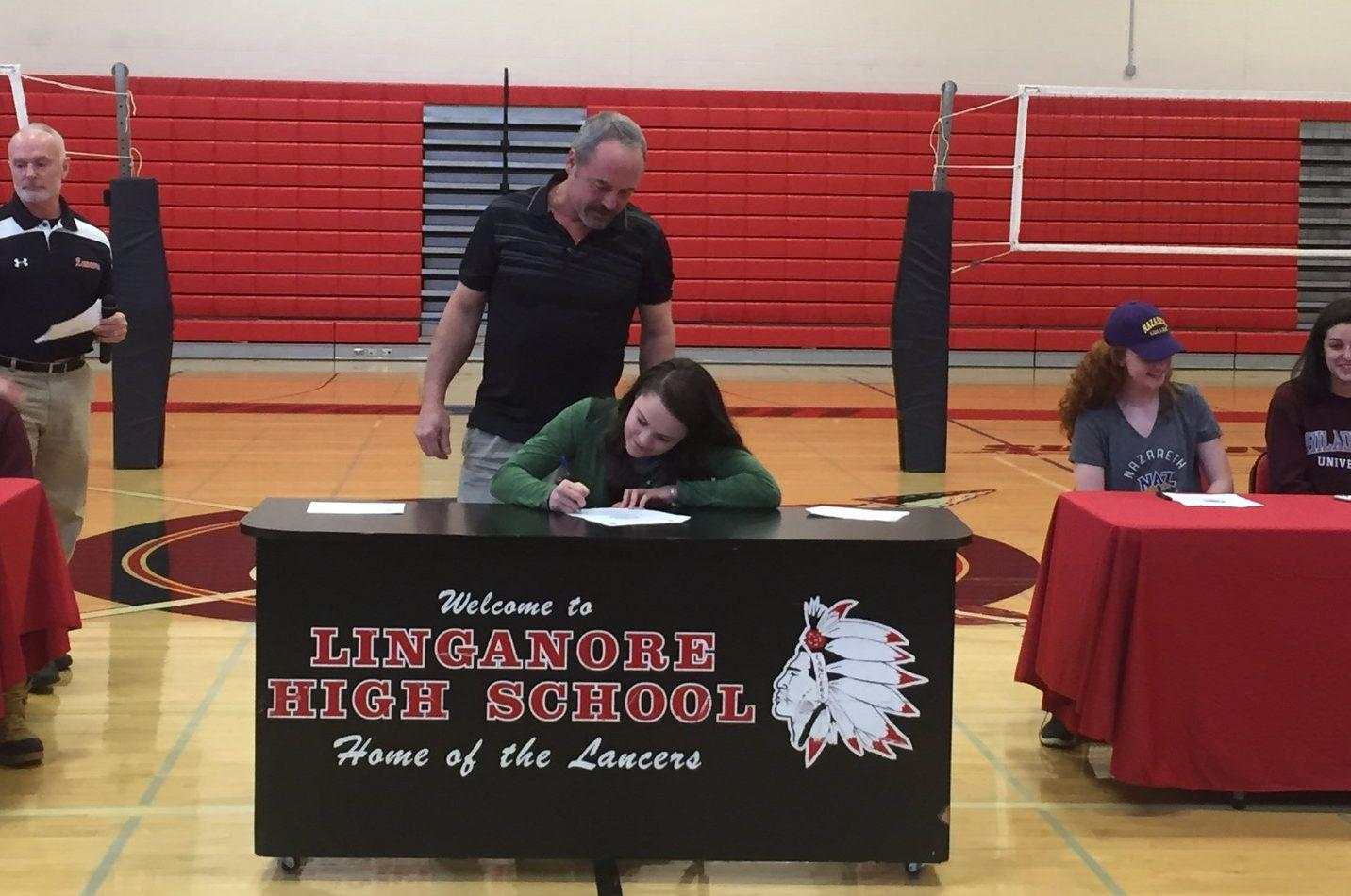 Paige Badostain signs to Stevenson University.