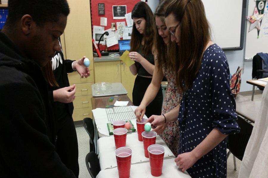Journalism students dye eggs, Garrett Wiehler's class activity.
