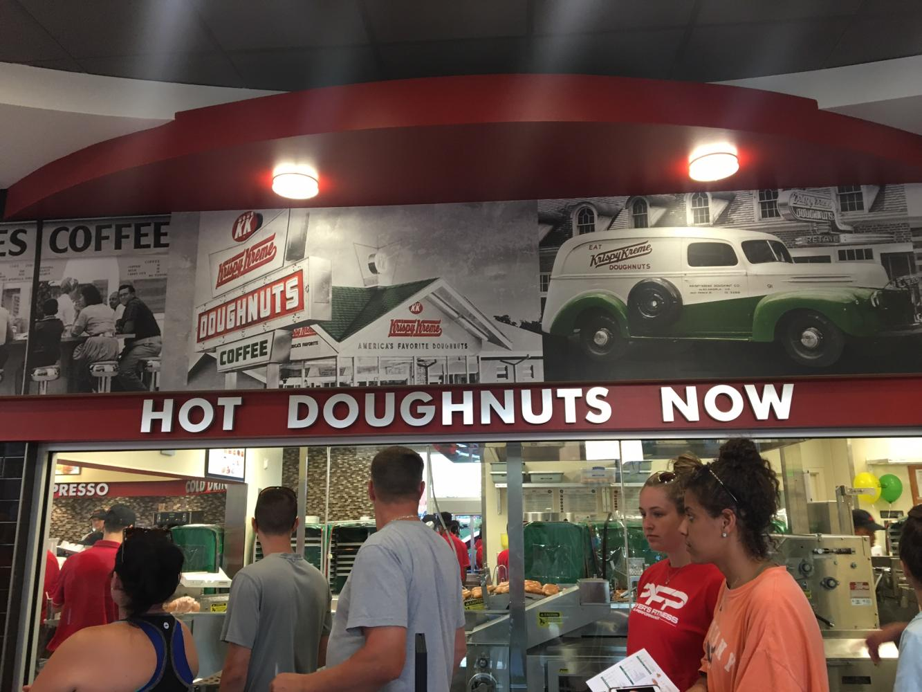 The new Krispy Kreme in Frederick features a window where patrons can watch the donuts being made.