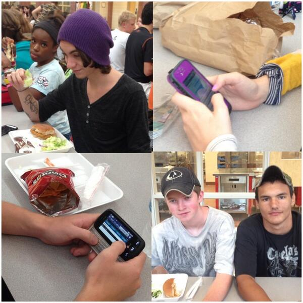 Matt Earp (top left), Jesse Rinehart (bottom right), and Tyler Loveless (bottom right) enjoy wearing hats with texting enthusiasts Chris Stephey (bottom left), and Avery Eddins (top right) during free time at lunch.