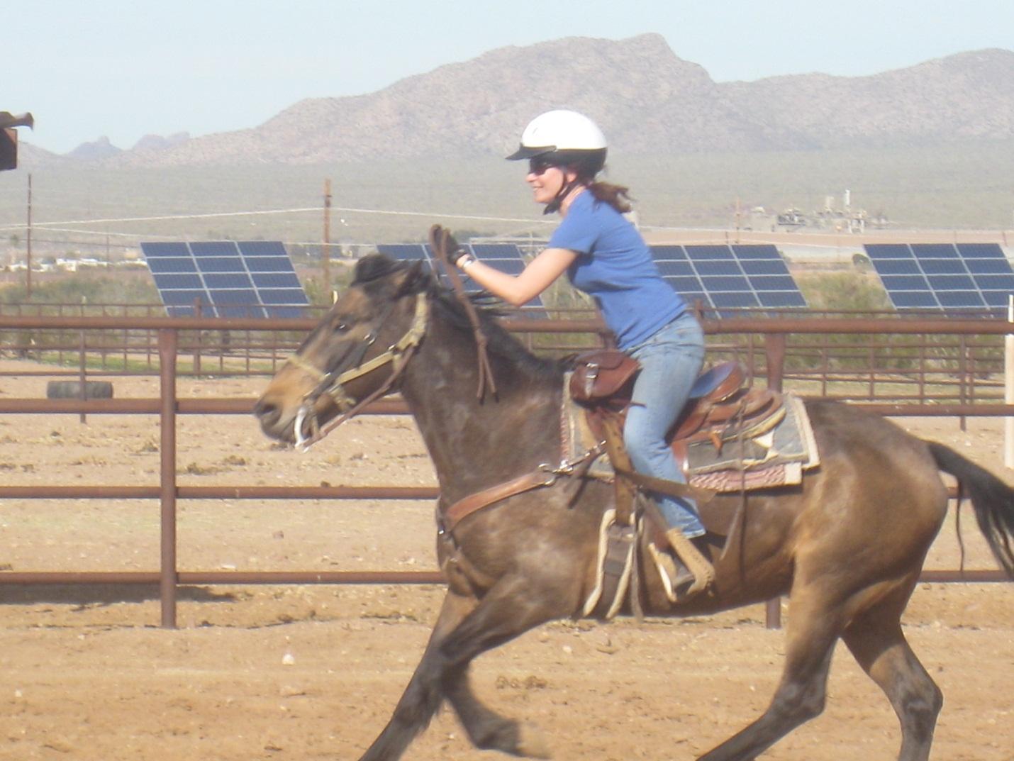 Ms. Hendi barrel racing in Arizona.