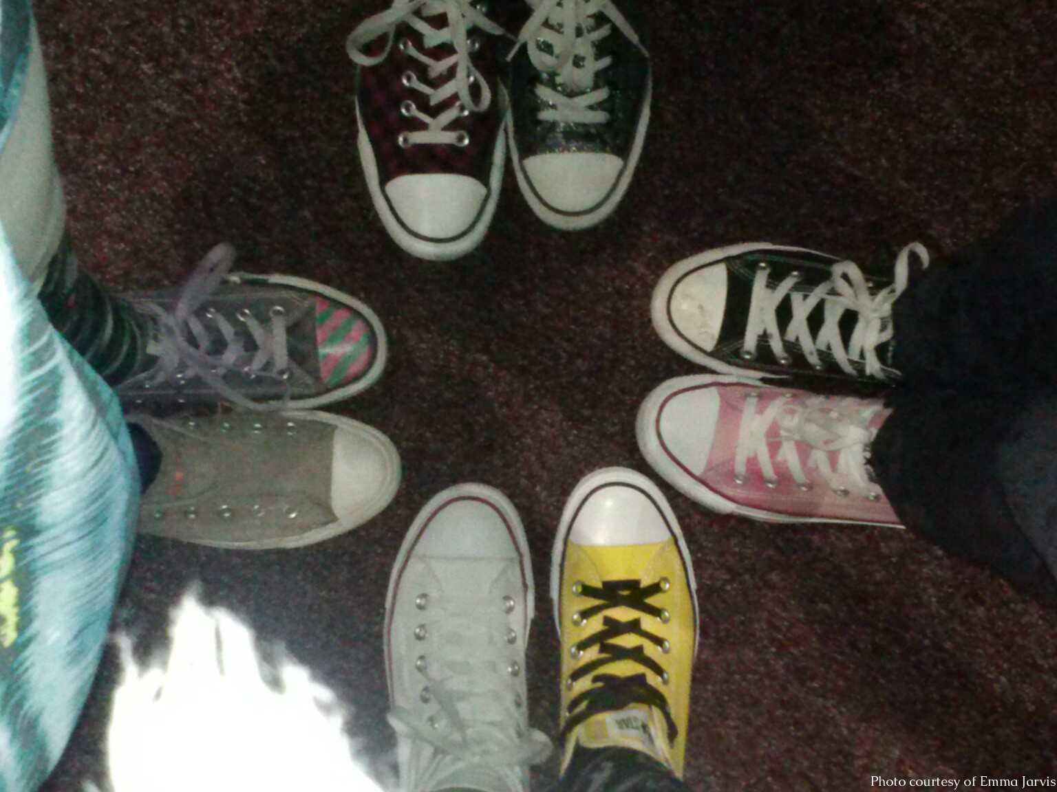 Students' shoes on wacky tacky day.  Photo courtesy of Emma Jarvis