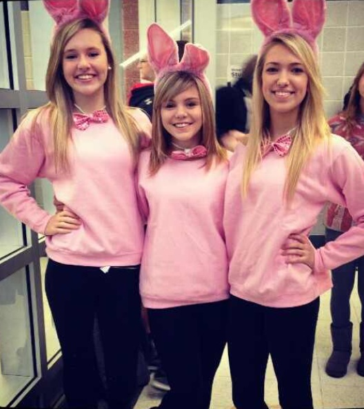 Sophomores Abby Ryan, Courtney Casper, and Emily Rieland dress up conservatively as bunnies for Halloween.  Photo courtesy of Emily Rieland