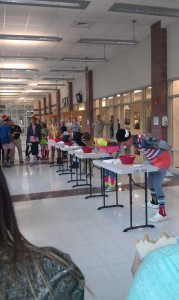 Students in third lunch participate in the lunch competition Wednesday