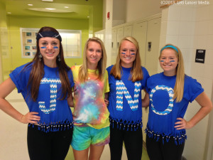 Ally Coggins, Morgan Cary, McKenzie McCaull, and Megan Kelly sport their class colors