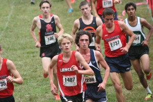 Freshamn Micah Hewittson runs in the Johns Hopkins meet Spetember 21. Photo courtesy of Luke Garwood.