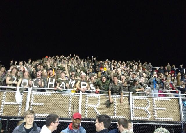 The Tribe, Linganore's Student Section, cheers on the Lancers in their 51-13 win over the Urbana Hawks