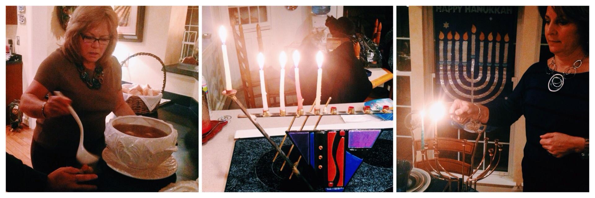 The author's family celebrating Hanukkah.