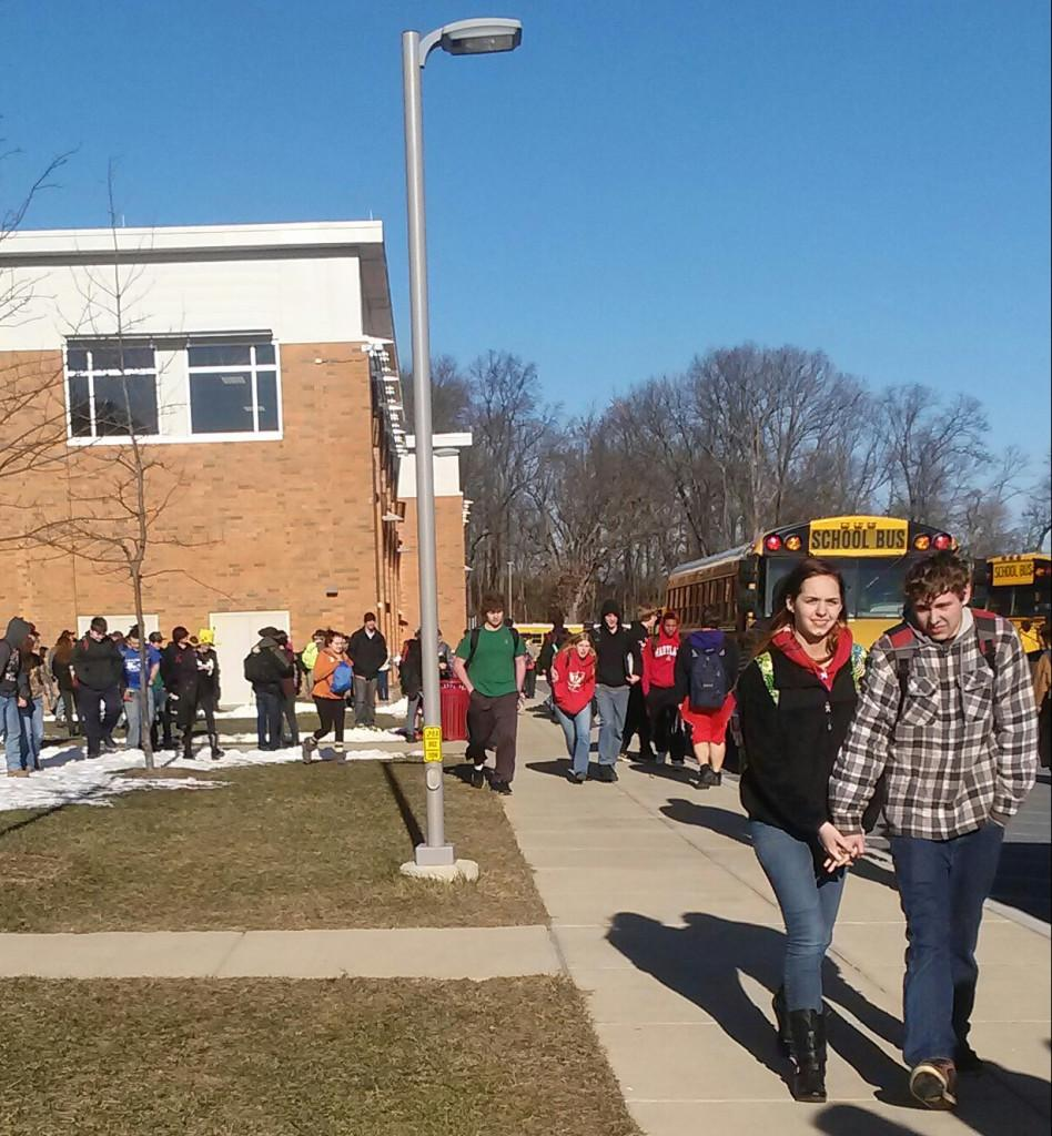 Although it was 12 degrees after school, many students decided to not bundle up on the way to their bus on January 7th.