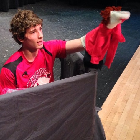 Mark Shiderly voices a puppet of himself during his Mr LHS talent competition.