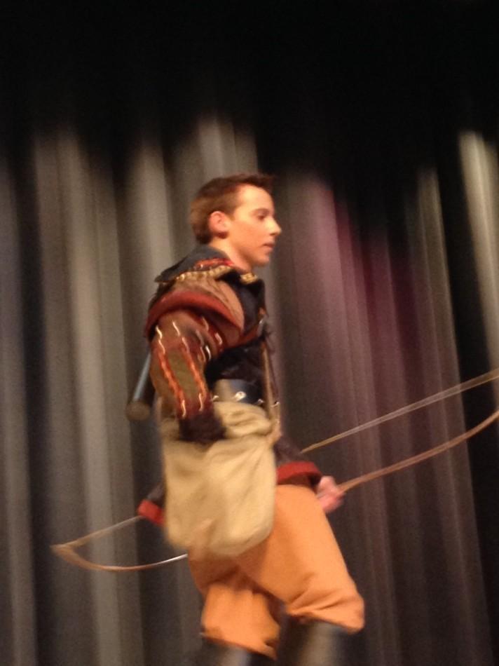 Joe Dirndorfer enters as Robin Hood
