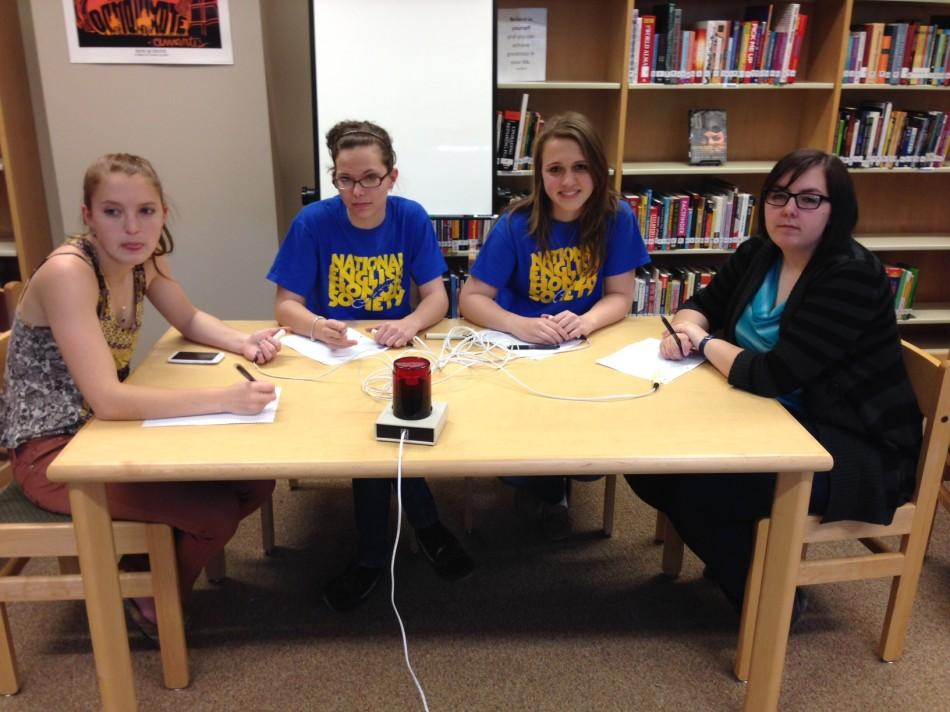 Members of the NEHS spelling bee team get ready for the challenge.