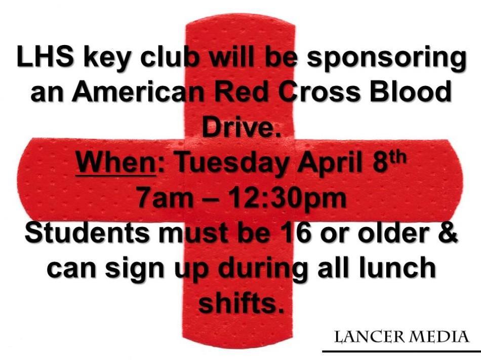 Key Club sponsors blood drive on April 8th