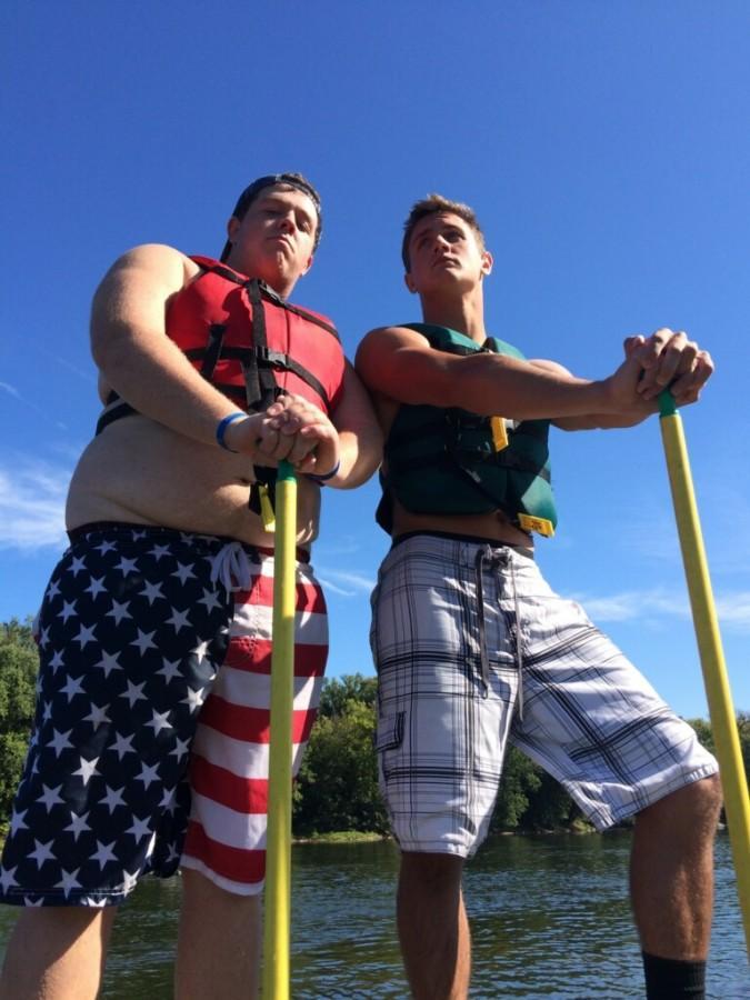 Senior Mike Fink and junior Ben Iwanski canoe on the Potomac River on Friday.