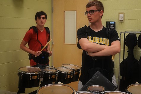 Photo of the Day 9/30/14: Dougherty, Reibman work on drumline visuals