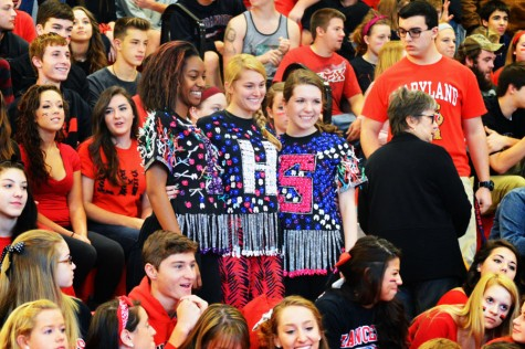 Students pose during the pep rally.