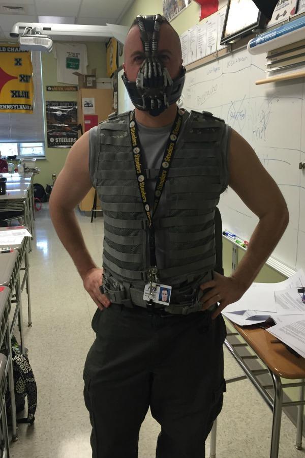 Aaron Burch dressed up like the villian Bane from Batman