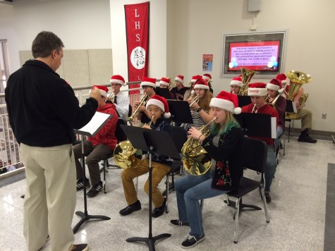 Brass ensemble plays for the holidays: Brass ensemble entertains before school