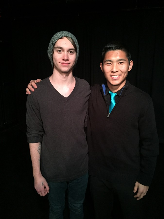 Luke Staley and Matthew Earp attend the Poetry Out Loud competition.