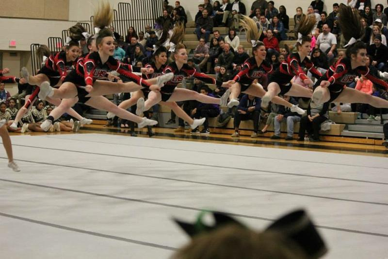 LHS varsity cheer performs their routine.