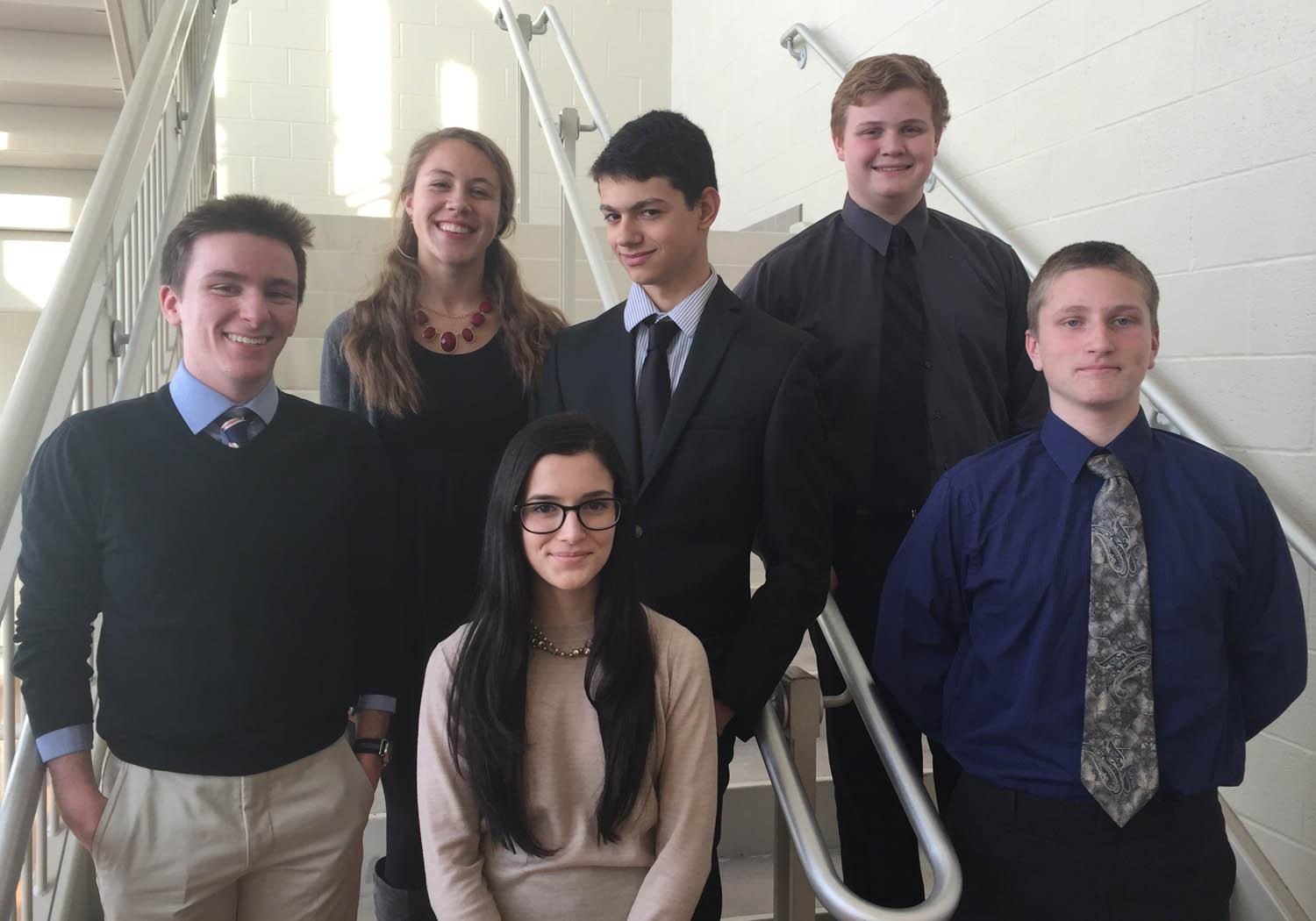 Mock Trial before heading out to the Frederick County Courthouse Starting from the top left: Maria Pellicier, Hugh Norko,  and Garrett Gillespie.  From the bottom left: Ryan Stark, Sofia Schuller, and Patrick Conboy.