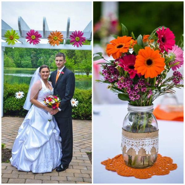 (Left) Kendall and Christopher Stevens pose for their wedding photo. (Right) The Stevens' wedding flowers arranged by the LHS FFA