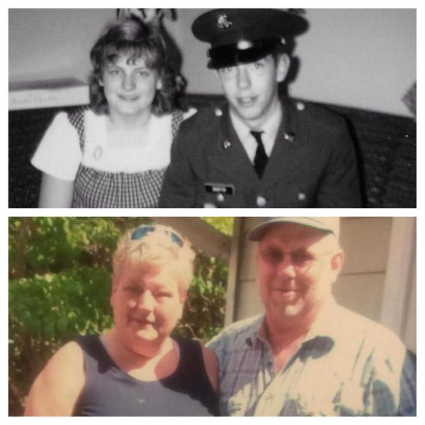 Love birds Tom and Sandra    in 1973 (top) and again after their remarriage (bottom)