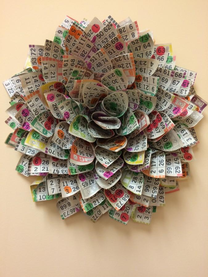 Mrs.+Sharon+Smith%27s+wreath+made+out+of+2014+Safe+and+Sane+bingo+tickets.