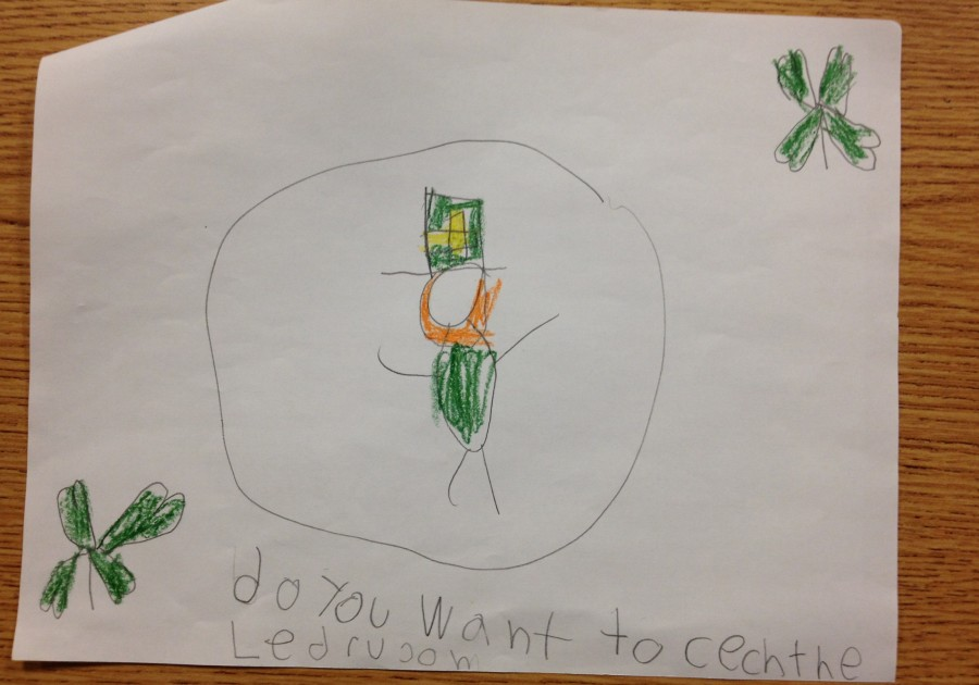 A first grader drew a leprechaun attached to his pen pal letter, fitting for St. Patrick's Day on the 17th.