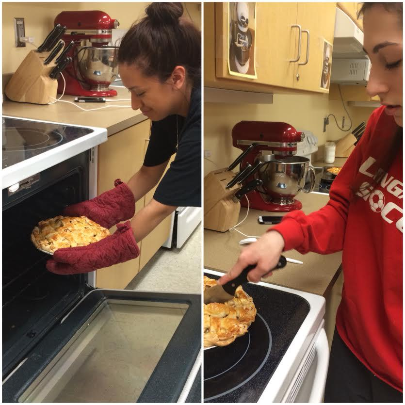 (Left) Junior LIly Rosas takes fresh made apple pie out of the oven as (right) Junior Gina DeFrancisci cuts the pie.