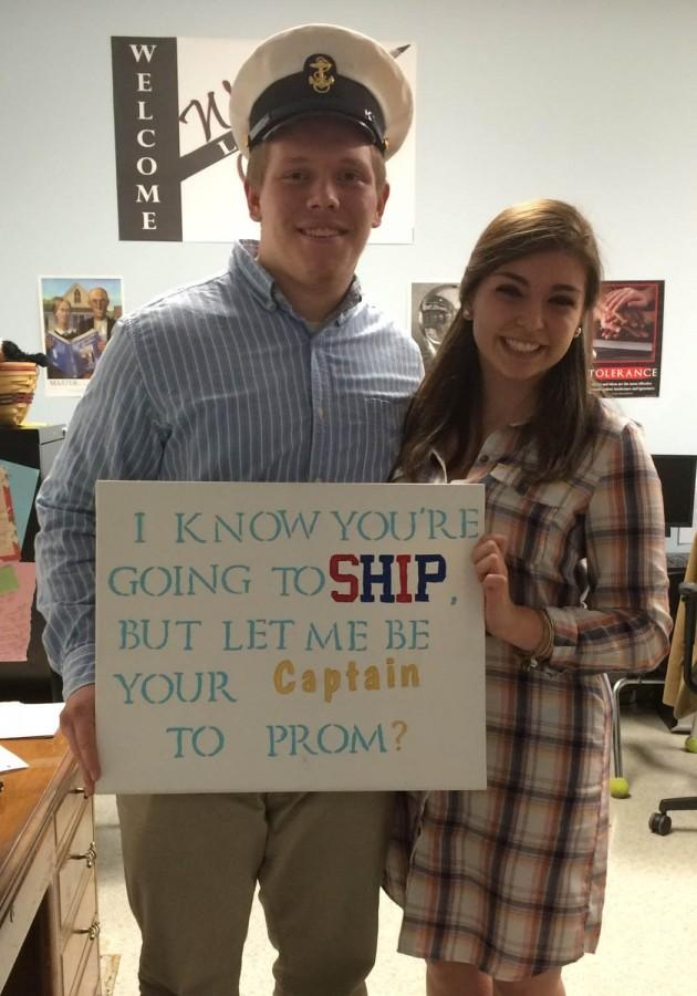 Seniors Chris Cooper and Isabella Marcellino pose after a smooth promposal.