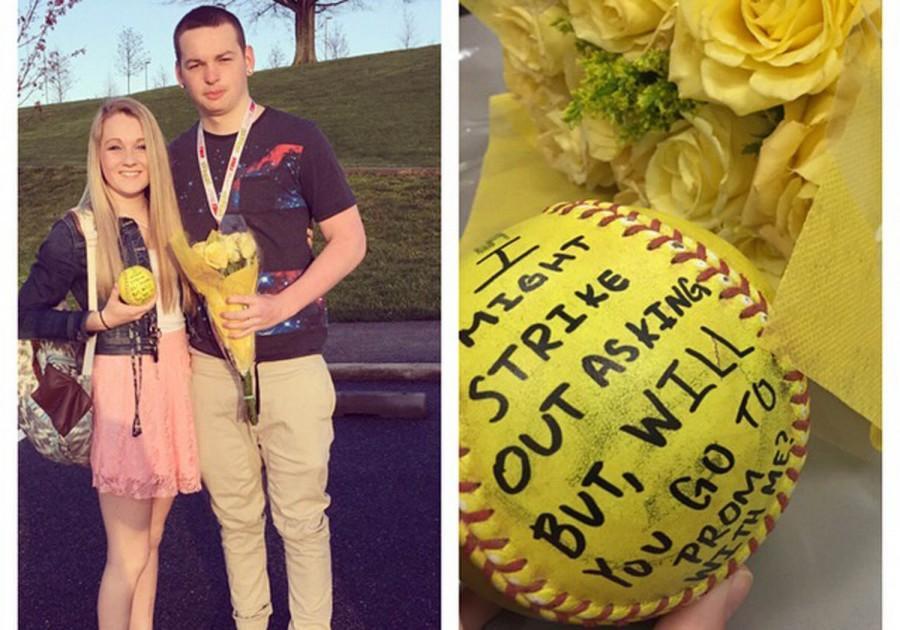 Senior Colin Saylor promposes to senior Kristen Durbin with a message written on a softball.