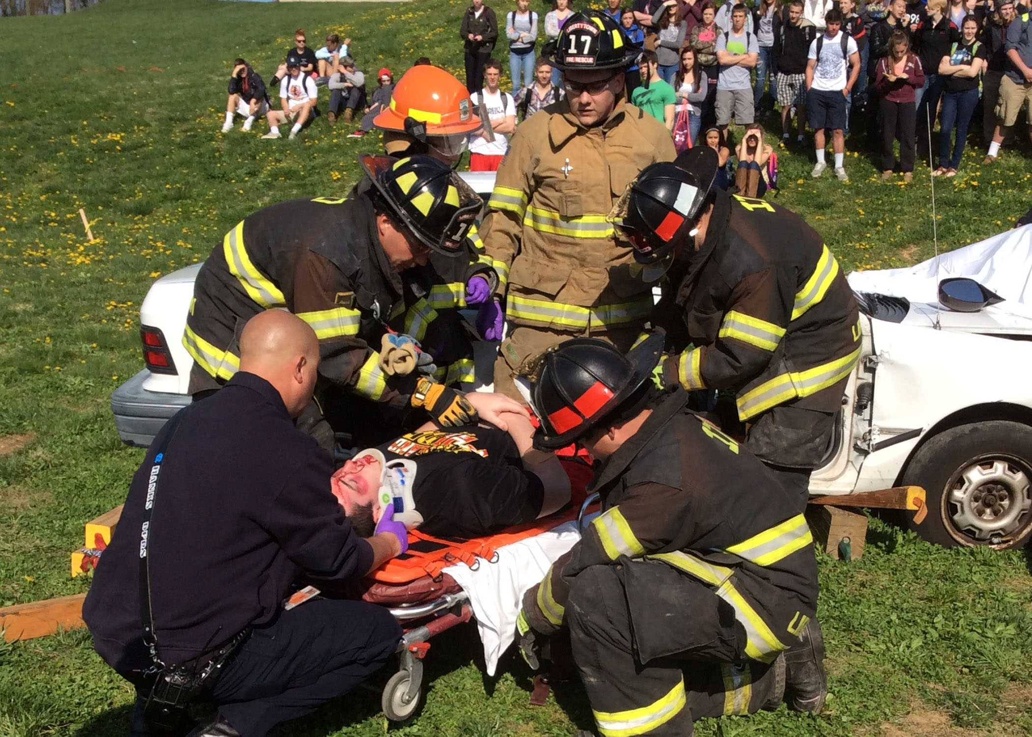 Libertytown Fire Department rescue removes Justin Knotts from the simulated crash to place him in medical care.