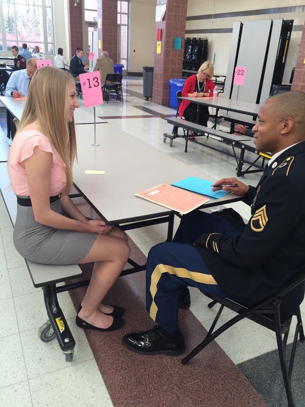 Junior Abby Hiltke is interviewed by Sergeant Williams.