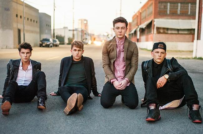 The members of Rixton (from left to right):  Charley Bagnall, Danny Wilkin, Jake Roche, and Lewi Morgan.
