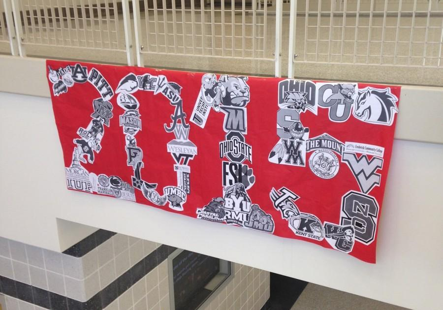 Hanging on Main Street, the Class of 2015's College Banner is made up of all the schools being attended by the senior class.