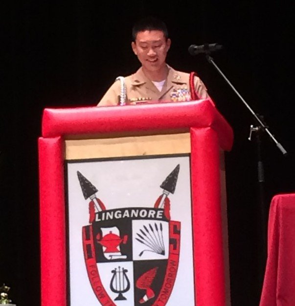 Bobby+Milburn+delivers+his+farewell+speech+shortly+before+the+JROTC+change+of+command+ceremony.