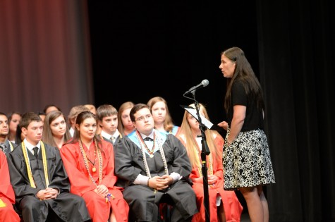 Student-chosen speaker Mrs. Theresa Wiltrout gives a farewell speech to the Class of 2015.