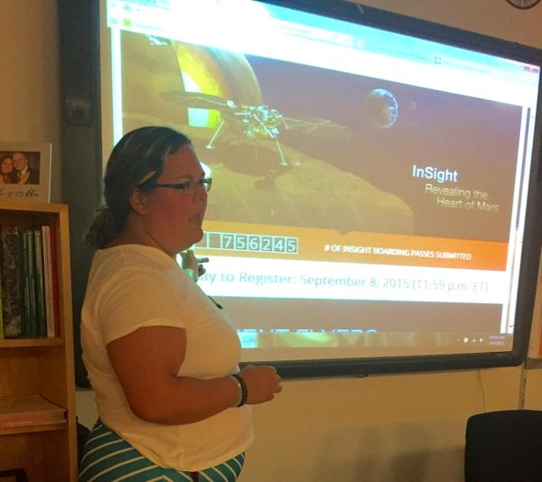 Dillon explains the InSight Mission to Mars and the Send Your Name to Mars program to her third period Chemistry class.
