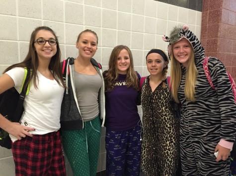 Madison Cook, Maddie Noah, Grace Winpigler, Emily Byrnes, and Brittni Degrange enjoy pajama day.