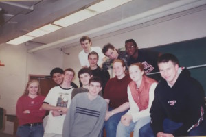 Daniel Getsinger (far right) is photographed with his 2003 physics class.