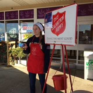 Erika Kosar rings the bells for Salvation Army at Urbana Giant.