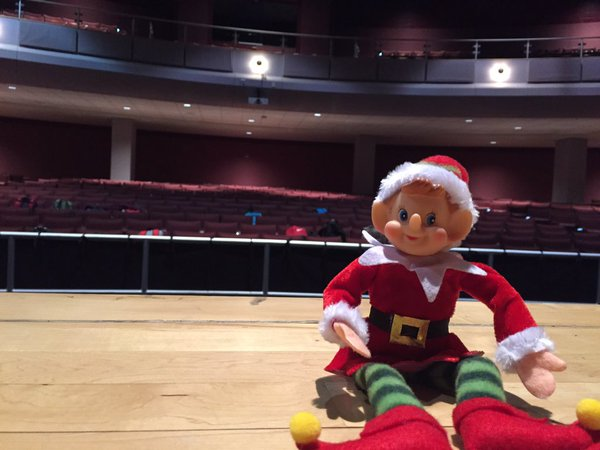 12/17: Congratulations, Ms. Scuffins, for winning the daily raffle again! Newsie was hanging out on the stage in the theater.