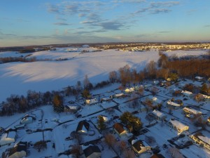 An aerial view of the East Village looking toward the West Village. Mt. Airy, Maryland. 1/24/2016