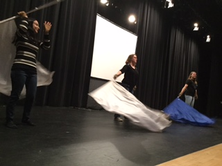 Jessica Bendler, Elizabeth McWilliams and Sophie Kirschner practice for their project show.