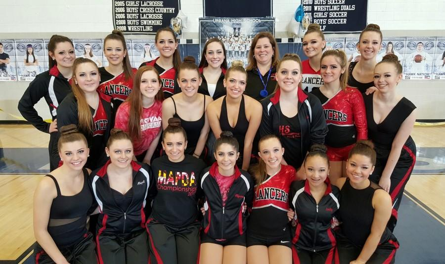 The Pom and Dance team poses before a successful first competition at Urbana High School!